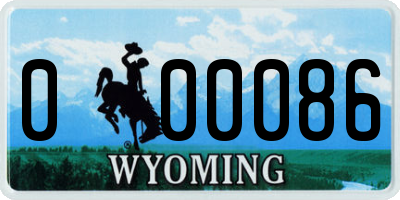 WY license plate 000086