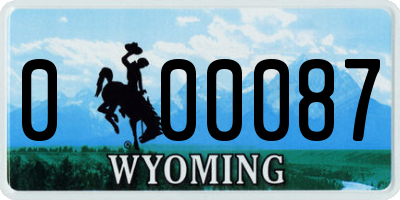 WY license plate 000087