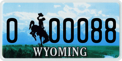 WY license plate 000088