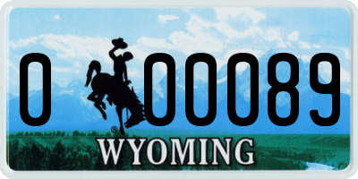 WY license plate 000089