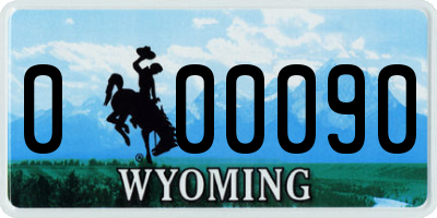 WY license plate 000090