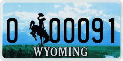 WY license plate 000091