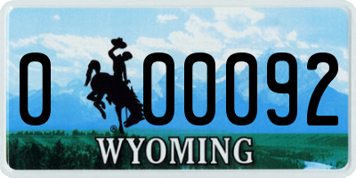 WY license plate 000092