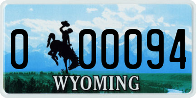 WY license plate 000094