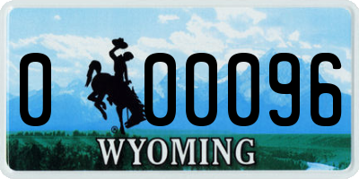 WY license plate 000096