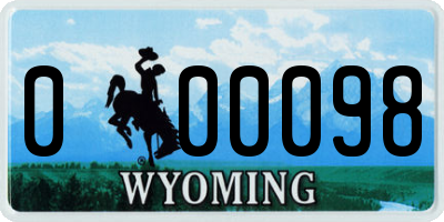 WY license plate 000098