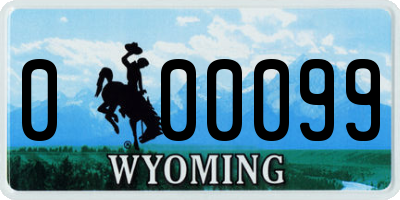 WY license plate 000099