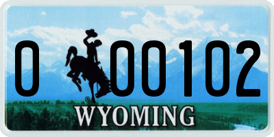 WY license plate 000102