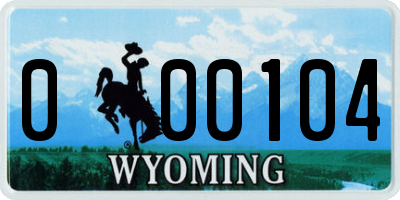 WY license plate 000104