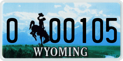 WY license plate 000105