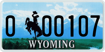 WY license plate 000107