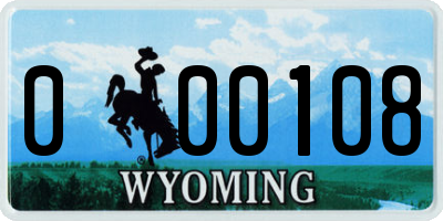 WY license plate 000108