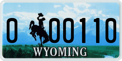 WY license plate 000110