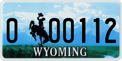 WY license plate 000112