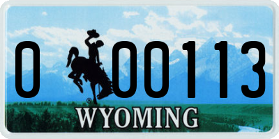 WY license plate 000113