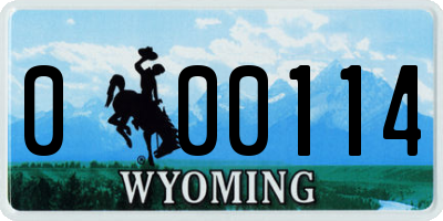 WY license plate 000114