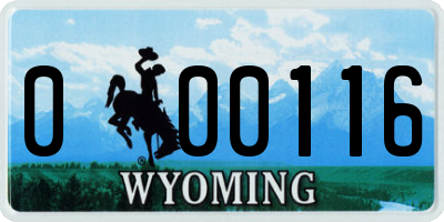 WY license plate 000116