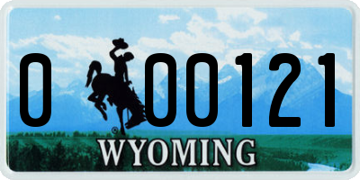 WY license plate 000121