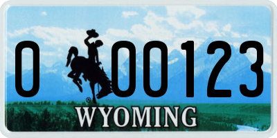 WY license plate 000123