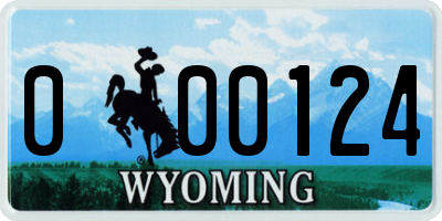 WY license plate 000124