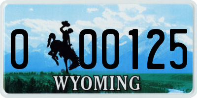 WY license plate 000125