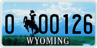 WY license plate 000126
