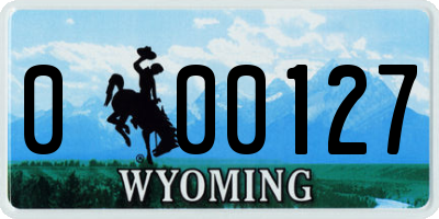WY license plate 000127