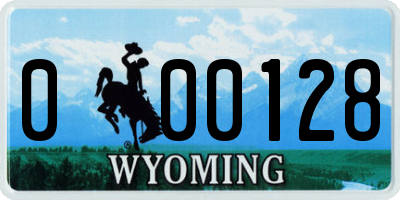 WY license plate 000128