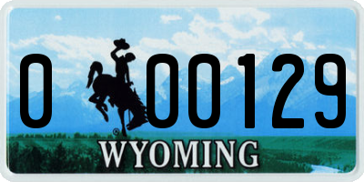 WY license plate 000129