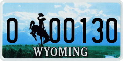 WY license plate 000130