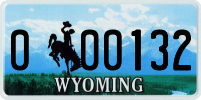 WY license plate 000132