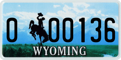 WY license plate 000136