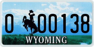 WY license plate 000138