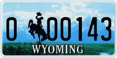 WY license plate 000143