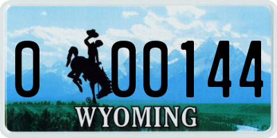 WY license plate 000144