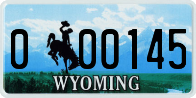 WY license plate 000145