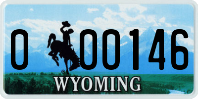 WY license plate 000146