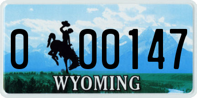 WY license plate 000147