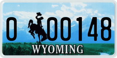 WY license plate 000148