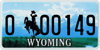 WY license plate 000149