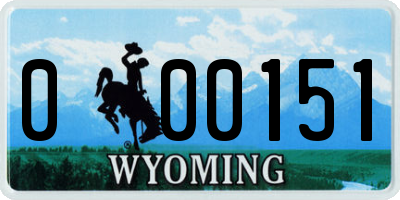 WY license plate 000151