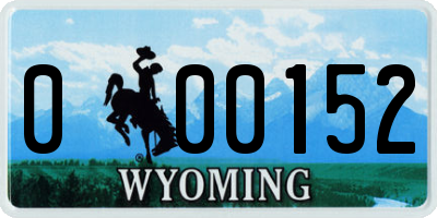 WY license plate 000152