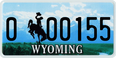 WY license plate 000155