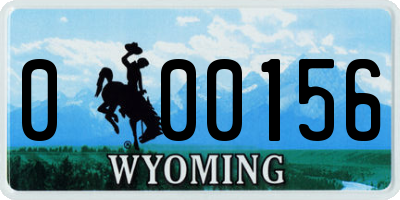 WY license plate 000156