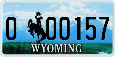 WY license plate 000157
