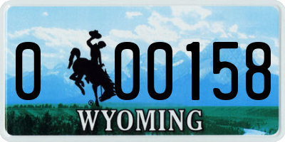 WY license plate 000158