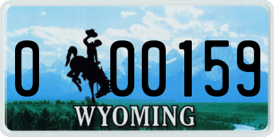 WY license plate 000159