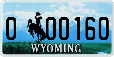 WY license plate 000160
