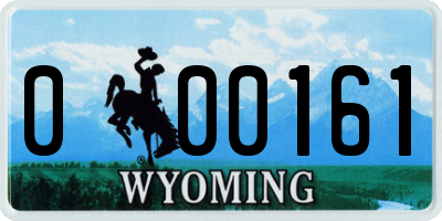 WY license plate 000161