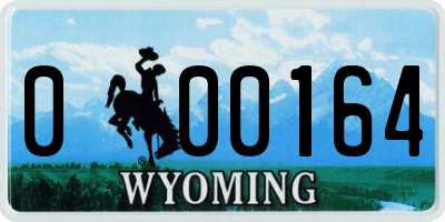 WY license plate 000164